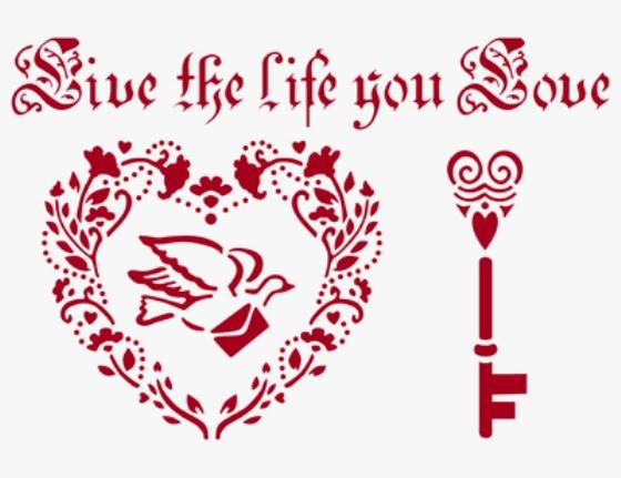 Трафарет для росписи Сердце, голубь, ключ, Stamperia KSG222