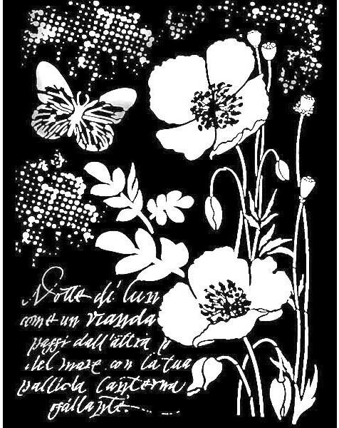 Объемный трафарет для декупажа Маки и бабочки Stamperia
