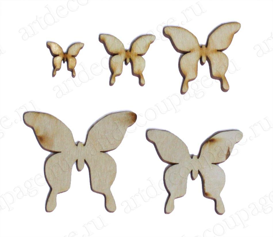Накладные декоративные фигурки из фанеры, Бабочки, заготовки для декупажа, купить