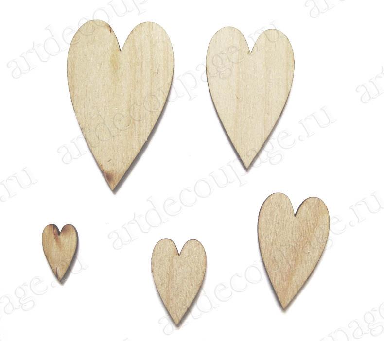 Декоративные элементы из дерева, Сердечки, украшения для декупажа и скрапбукинга, купить