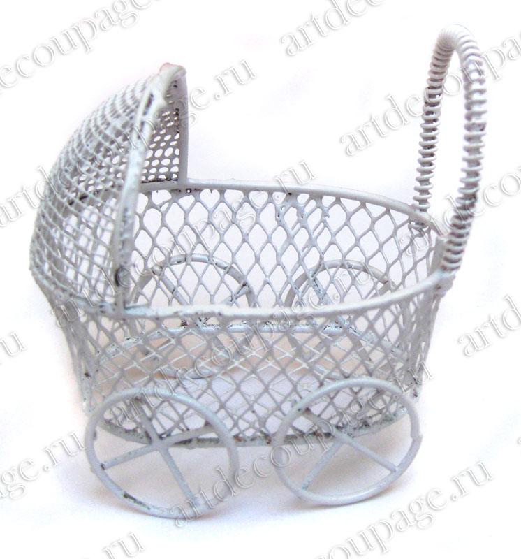 Миниатюрная коляска для декора и кукольных композиций, купить - магазин АртДекупаж